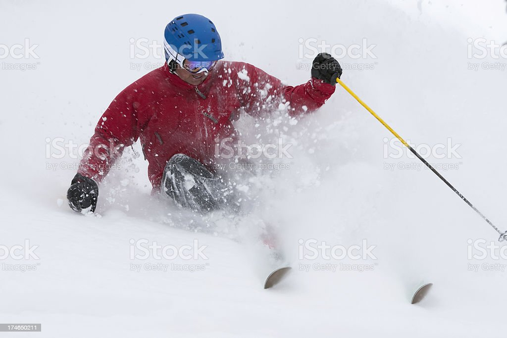 Skiing in fresh powder royalty-free stock photo