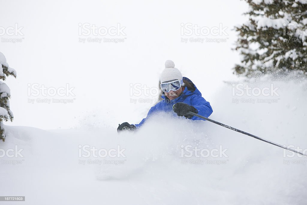 Skiing in Fresh snow stock photo