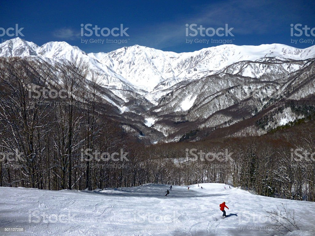Skiing in Japan stock photo