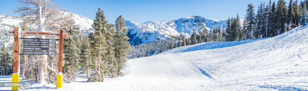 Skiing in Lake Tahoe stock photo