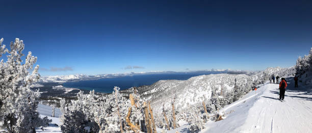 skiing in Lake Tahoe stock photo
