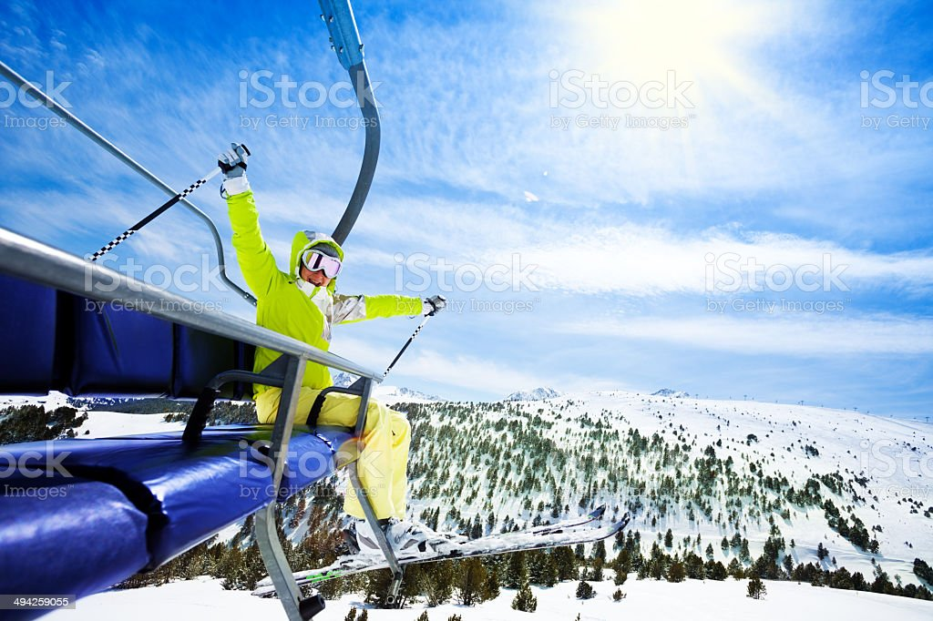 Skiing in mountains is so cool stock photo