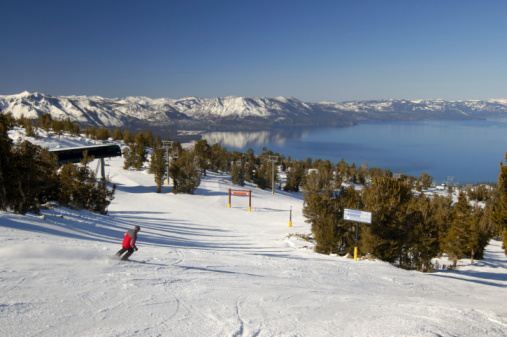 Skiing In Nevada At Lake Tahoe Stock Photo - Download Image Now