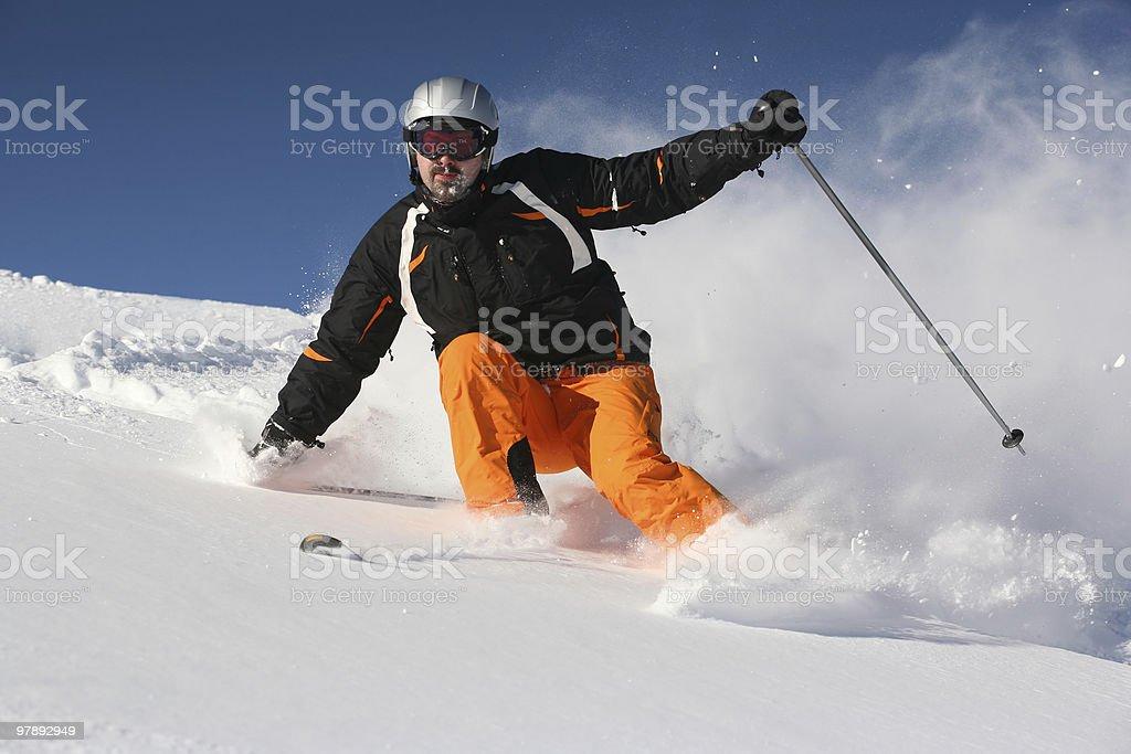 Skiing in pwoder snow royalty-free stock photo