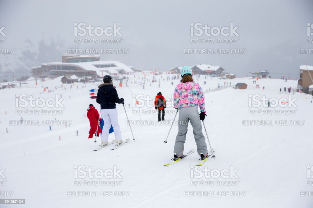 Skiing in Samoens, France stock photo