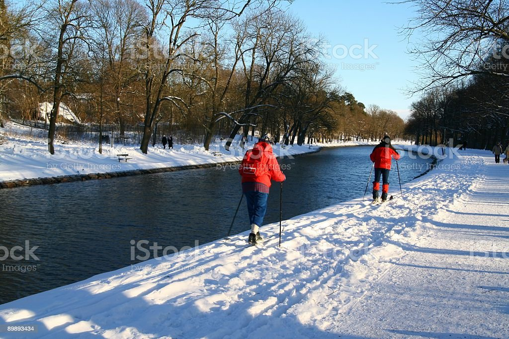Skiing in Stockholm royalty-free stock photo