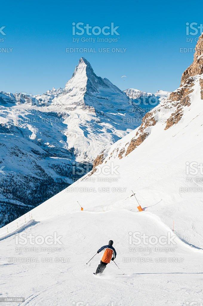 Skiing in Switzerland stock photo