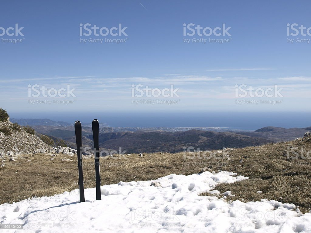 Skiing in the Alps over Nice and Grasse Greolieres stock photo