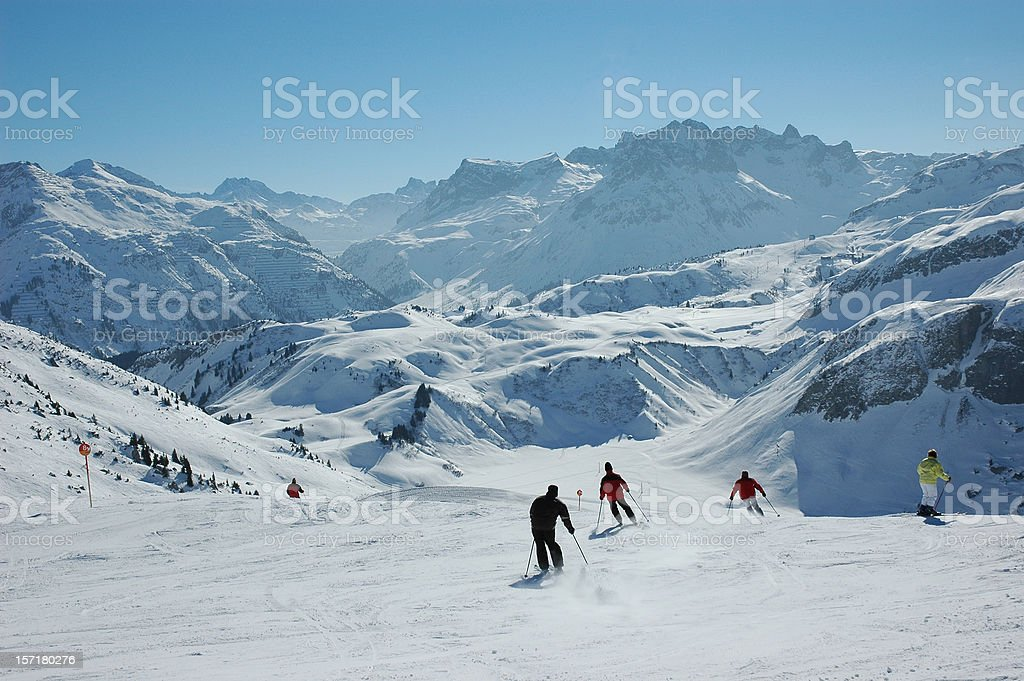 Skiing in the austrian alps royalty-free stock photo