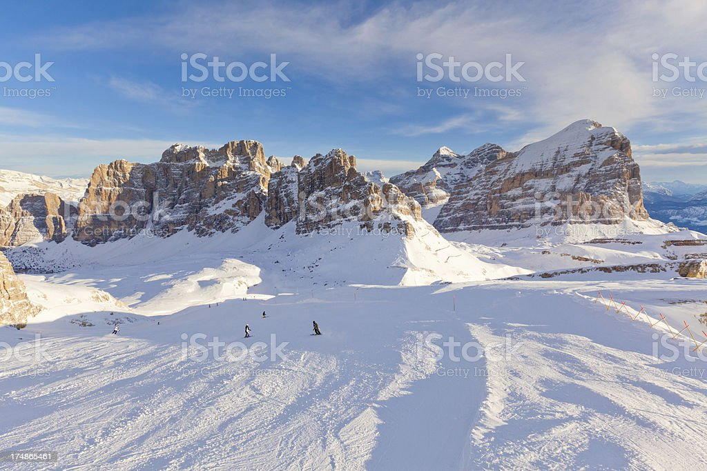Skiing in the Dolomites stock photo