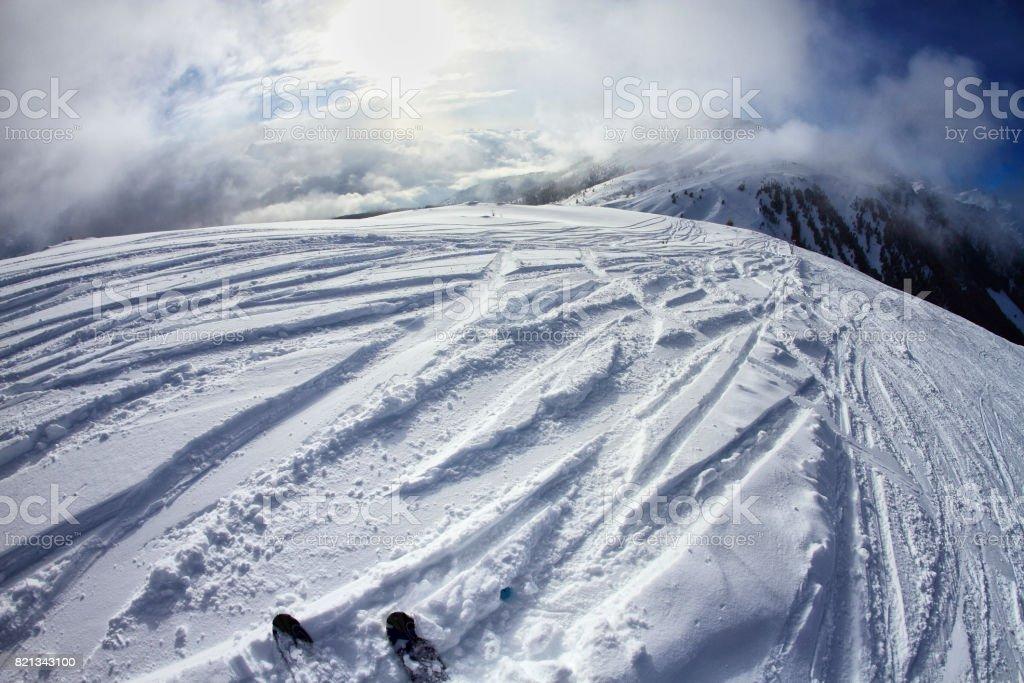 Skiing in the Dolomites, view of the slopes on skis and mountain peaks. Val di Fiemme, Italy stock photo