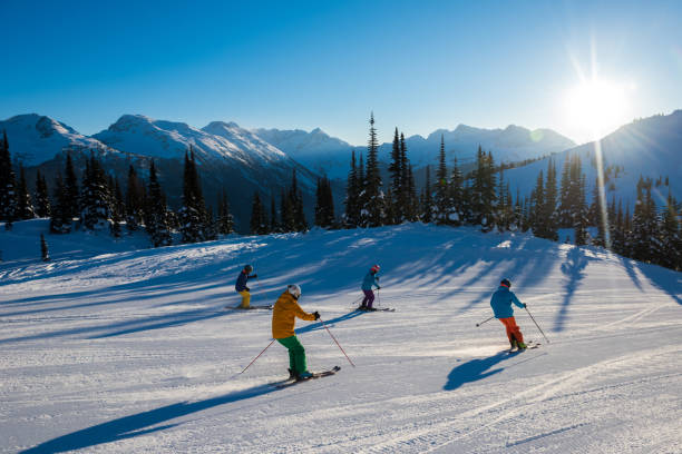 skiing in the mountains on a perfect day - corduroy stock pictures, royalty-free photos & images