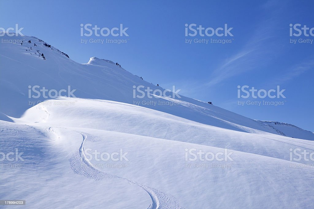 Skiing in the mountains royalty-free stock photo