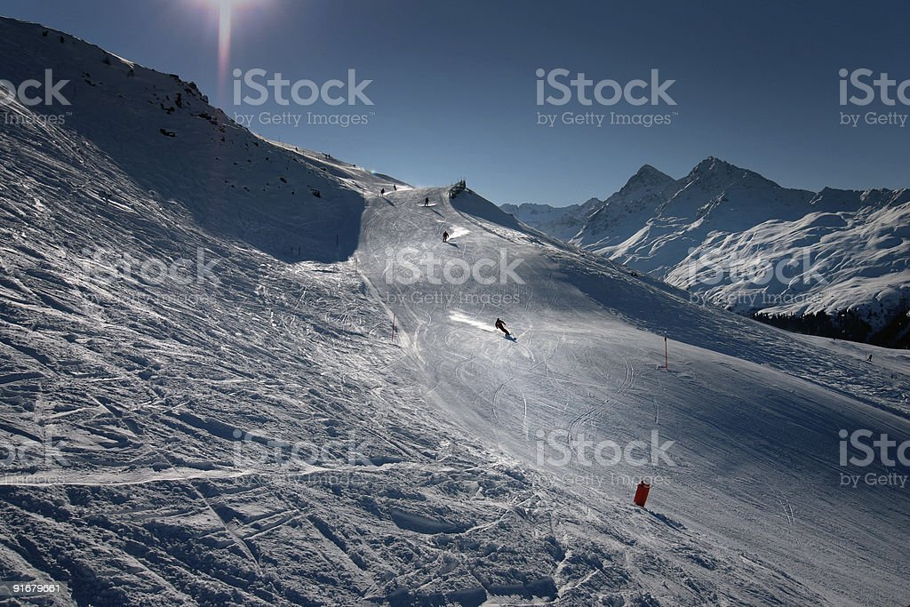 Skiing in the Swiss Alps stock photo