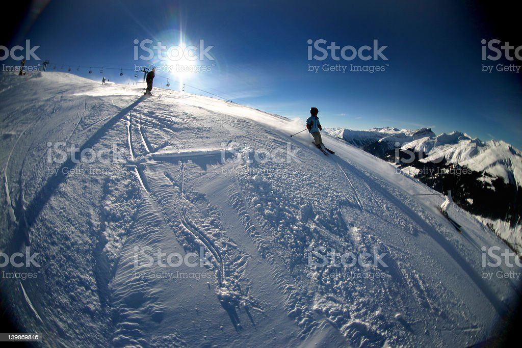 Skiing in the Swiss Mountains royalty-free stock photo