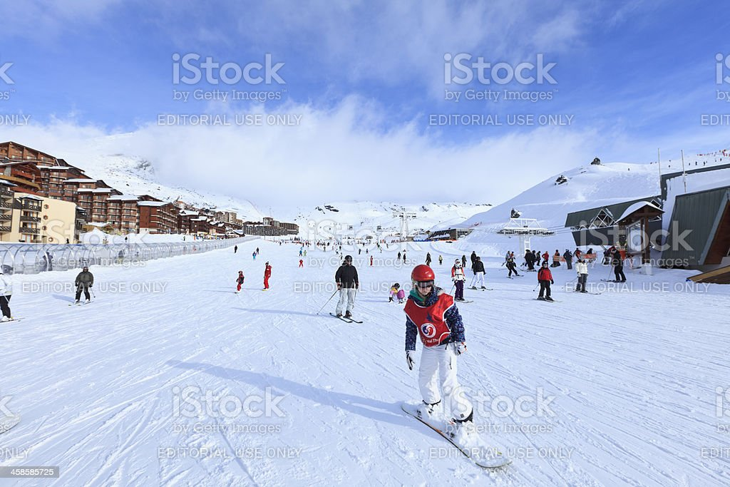 Skiing in Val Thorens royalty-free stock photo