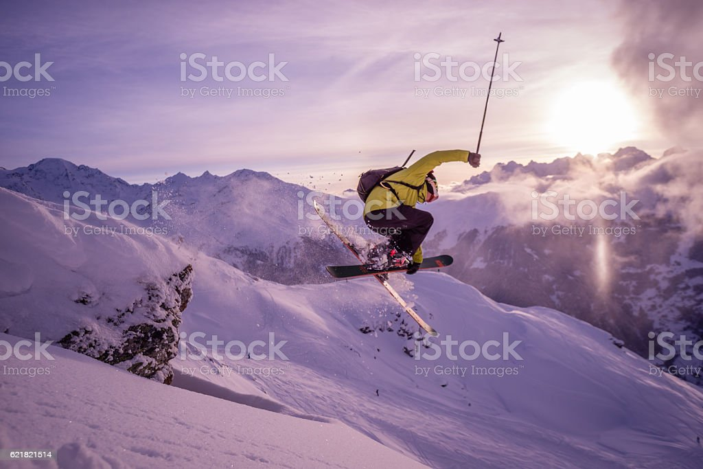 Skiing in Verbier stock photo
