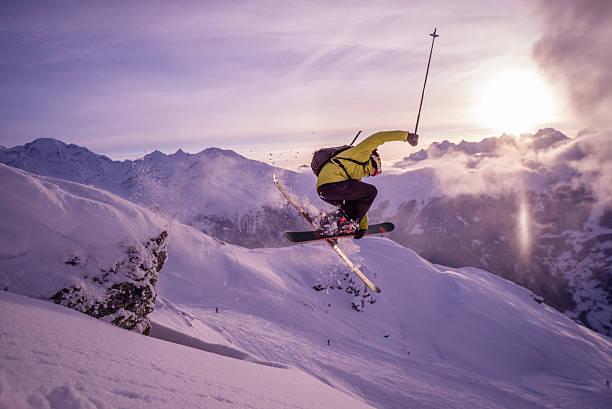 Skiing in Verbier stock photo
