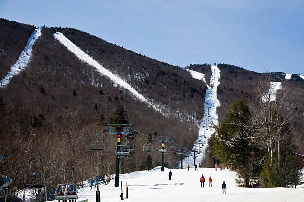 Skiing in Vermont stock photo