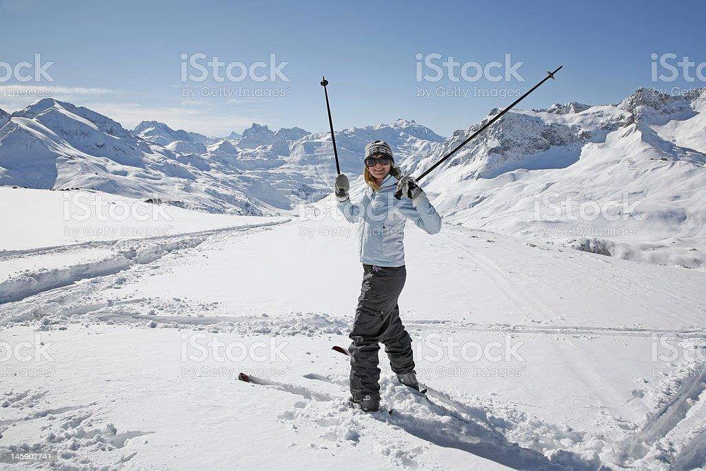 Skiing in Winter Wonderland royalty-free stock photo
