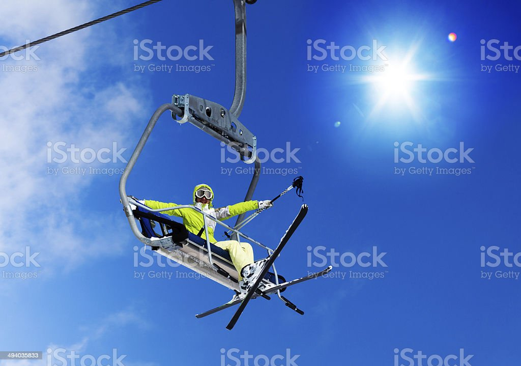 Skiing is super cool stock photo