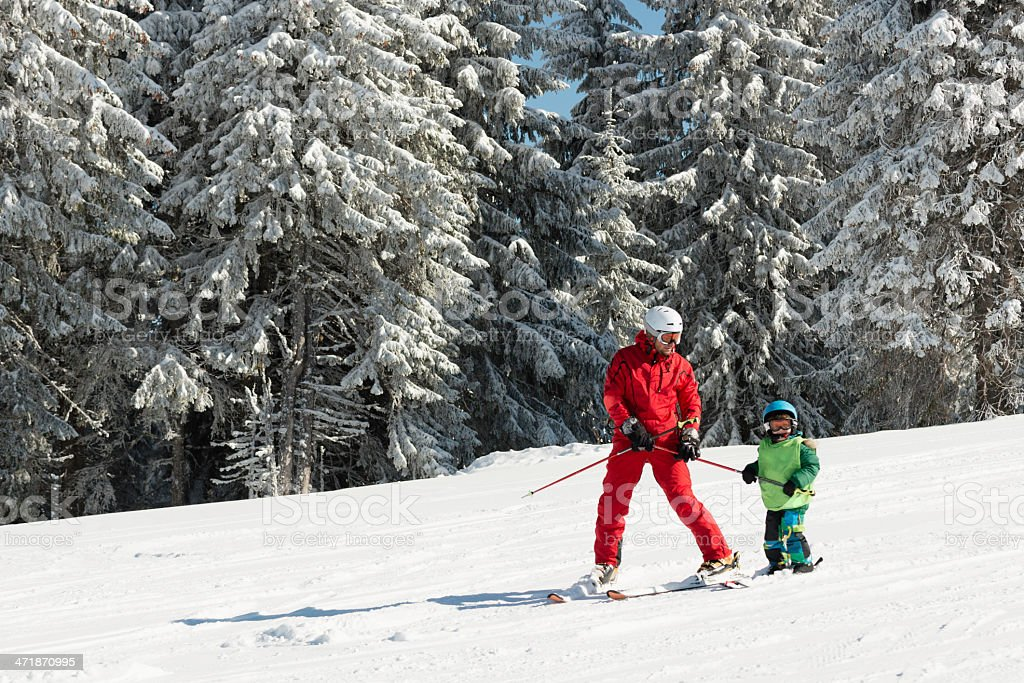 Skiing lesson stock photo