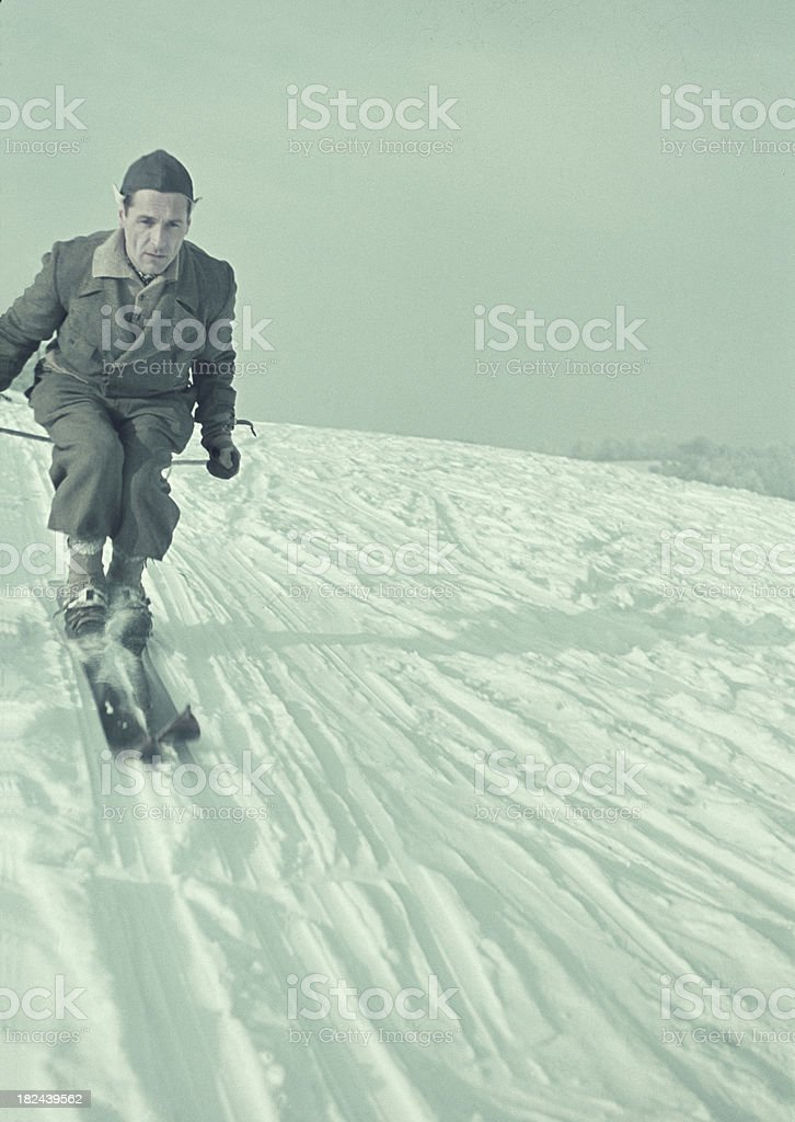 Skiing man in the year 1938. stock photo
