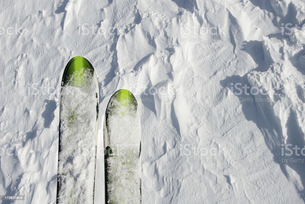 Skiing off slopes stock photo