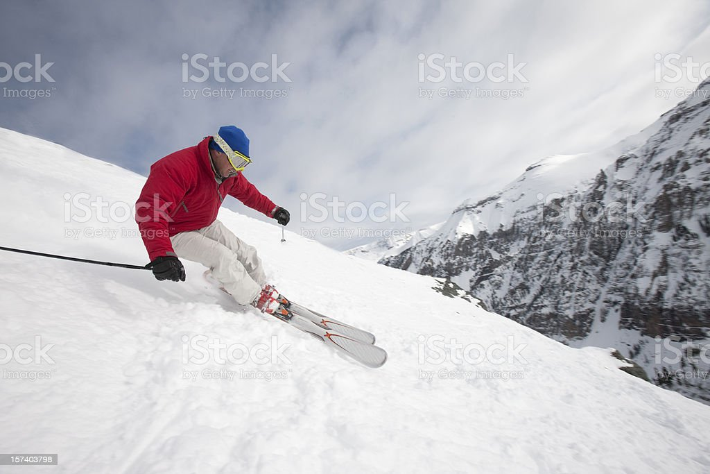 Skiing on steep terraine royalty-free stock photo