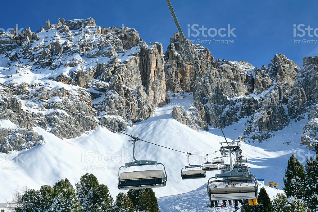 Skiing on the dolomites, Val di Fiemme, Italy stock photo