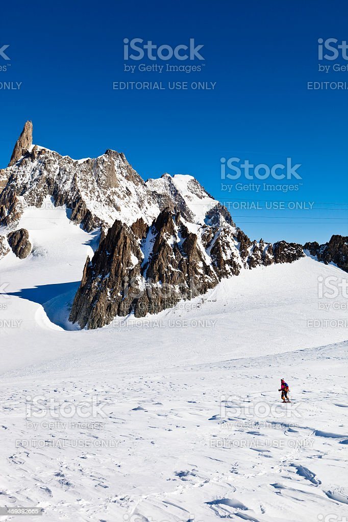 Skier on the Glacier du Geant, Mont Blanc Massif stock photo