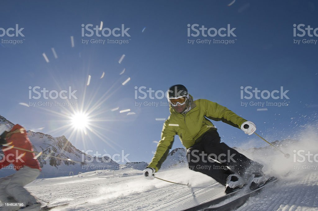 Skiing on vacation royalty-free stock photo