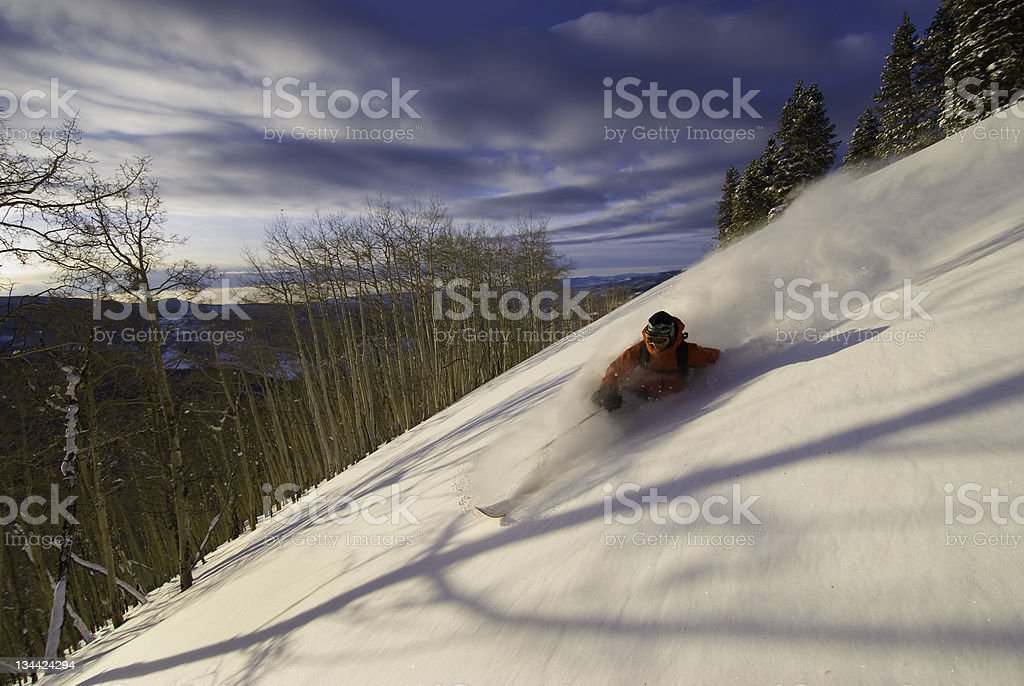 Skiing Powder Snow in the Mountains royalty-free stock photo