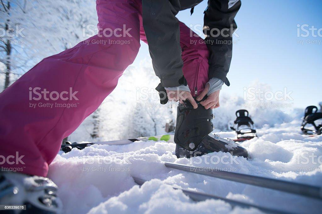 Skiing preparations stock photo