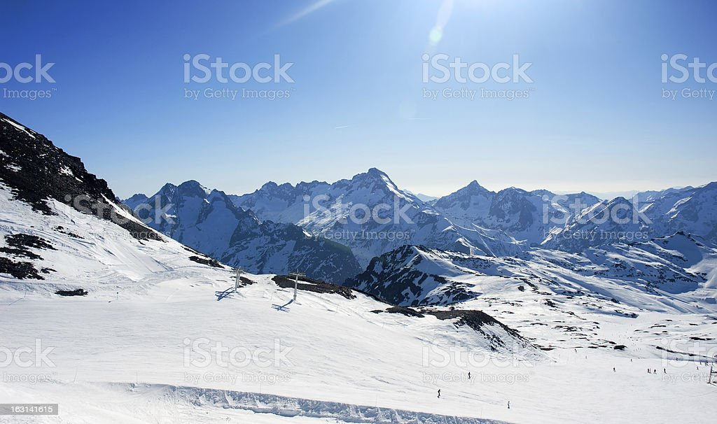Skiing slope in France, Les 2 Alpes stock photo