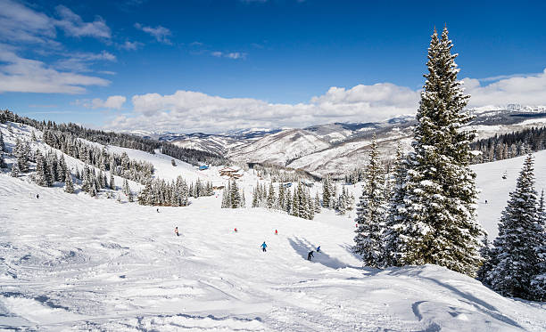 Skiing Slopes with Rocky Mountains in Background Skiing slopes in the foreground and Rocky Mountains in the background. This photograph was taken in Vail, Colorado. vail colorado stock pictures, royalty-free photos & images