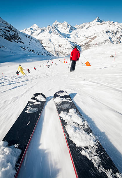 skiing speed exhiliration - gopro stockfoto's en -beelden