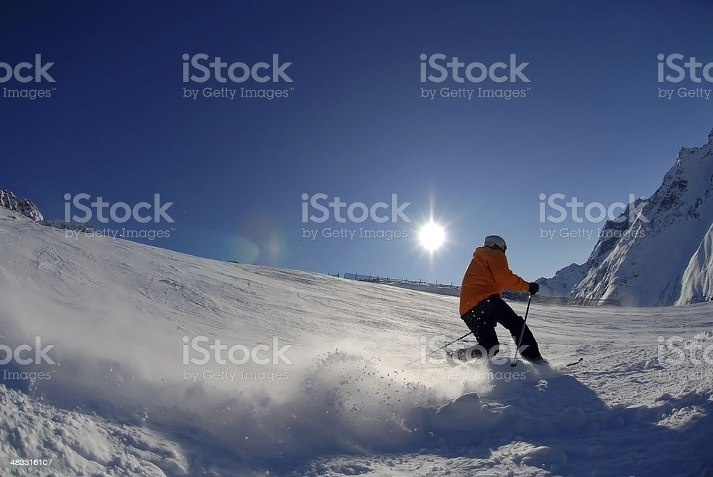 Skiing - Telemark - St. Anton stock photo