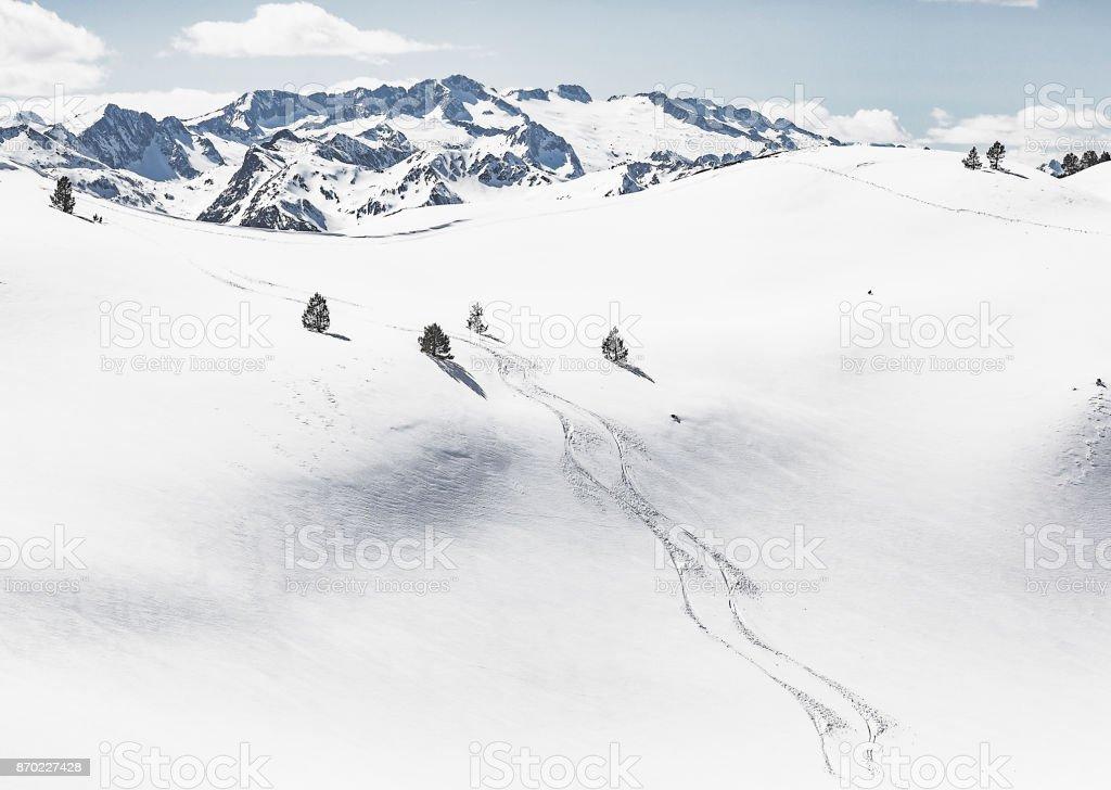 Skiing tracks in the Pyrenees  Val d'Aran Catalonia Spain stock photo