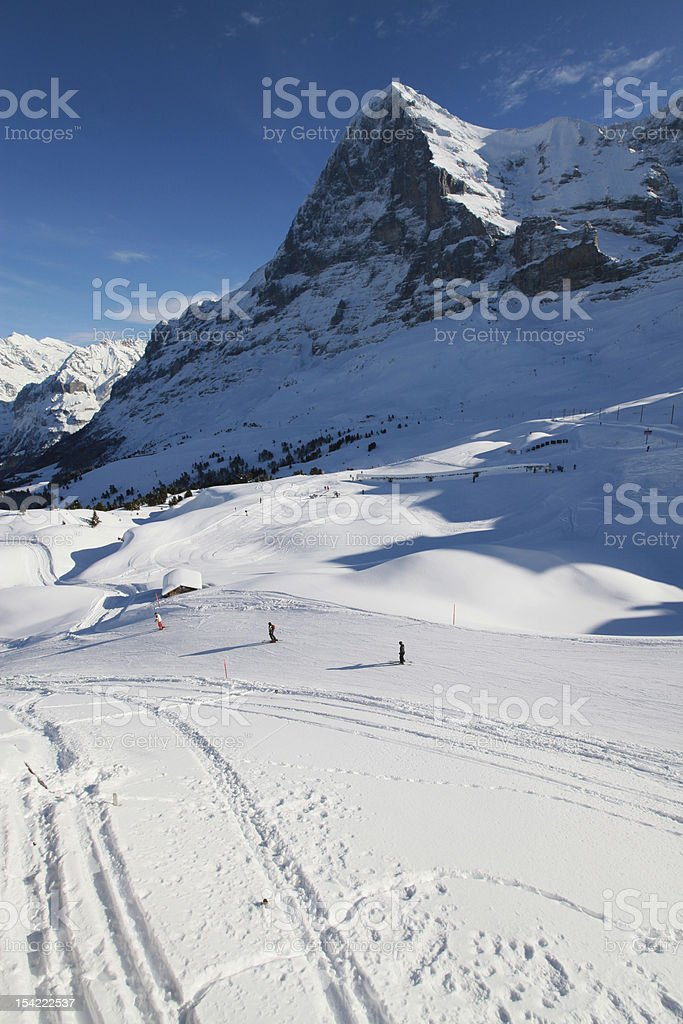 Skiing under the Eiger royalty-free stock photo