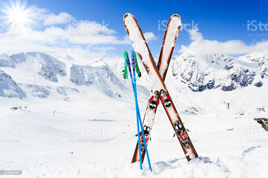Skiing winter time. stock photo