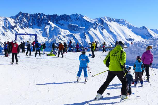 Skiing with teacher stock photo