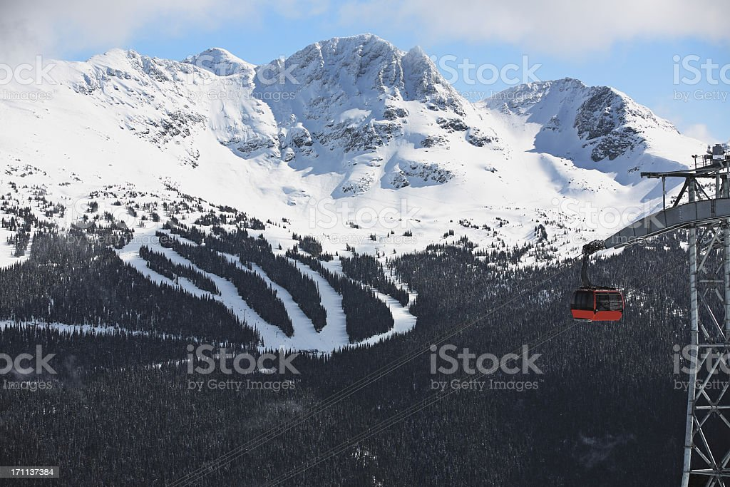 Skilift with snowy mountain background stock photo