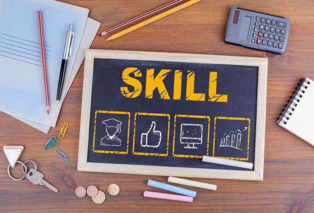 Skill Business concept. Chalkboard on wooden office desk Skill Business concept. Chalkboard on wooden office desk. qualification round stock pictures, royalty-free photos & images