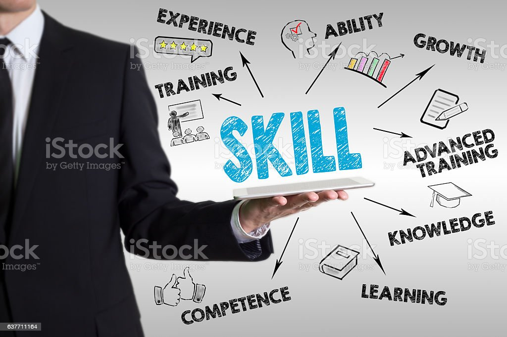 Skill concept. Man holding a tablet computer – Foto