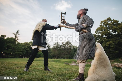 istock Skilled axe fighters dueling outdoors 1164552725