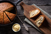 Homemade Banana Bread in a Cast Iron Skillet