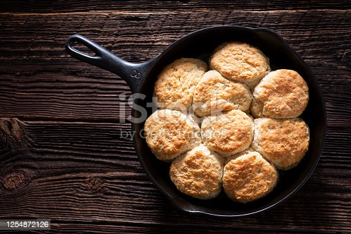 Homemade Buttermilk Biscuits in a Cast Iron Skillet