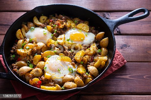 Potato, Egg and Sausage Breakfast Casserole in a Cast Iron Skillet