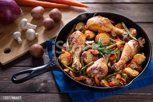 Chicken with Potatoes, Green Beans, Brussels Sprouts, Carrots and Mushrooms, Roasted in a Cast Iron Skillet